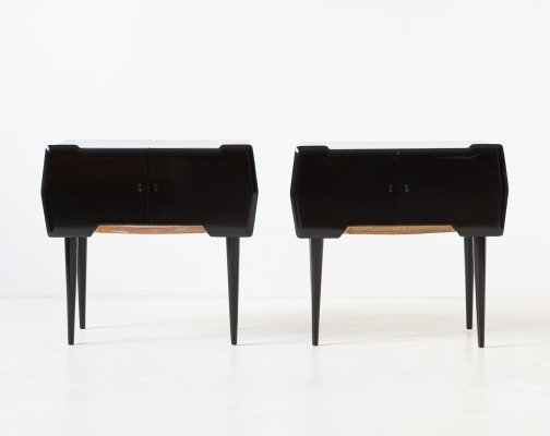 Pair of Italian Black Polished Wood & Brass Bedside Tables, 1950s