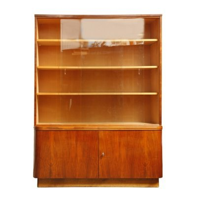 Mid century modern cabinet with bookcase in walnut by UP Závody, Czechoslovakia 1959