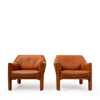 Pair of Cab 415 Armchairs by Mario Bellini for Cassina, 1980s