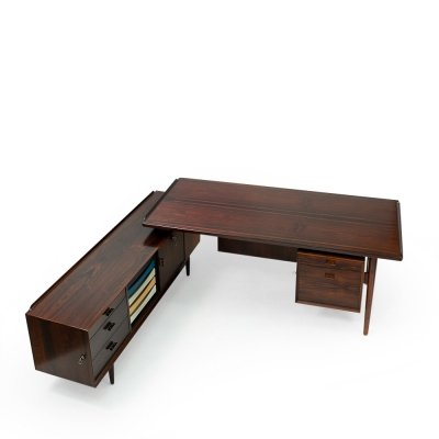 Rosewood Desk with Sideboard by Arne Vodder, 1950s