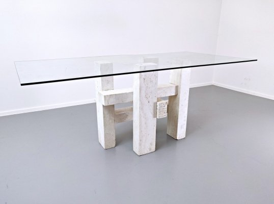 Travertine Dining Table by Willy Ballez, 1970s