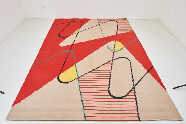Large Geometric Kilim Rug by Antonin Kybal, 1958