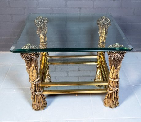 Vintage brass & glass coffee table, 1960s