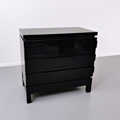 Black Lacquered Chest of Drawers by Emiel Veranneman, Belgium