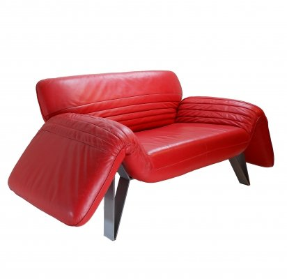 Red Leather DS 142 Sofa by Wilfried Totzek for De Sede