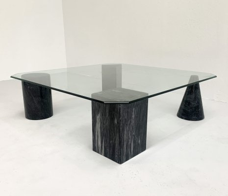 Geometric black marble coffee table, 1980s