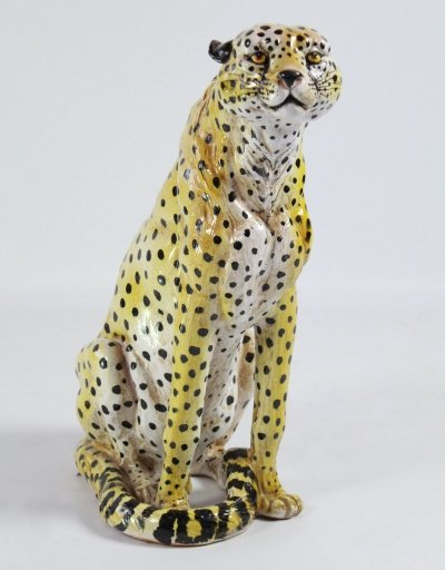 Rare hand painted ceramic cheetah, Italy 1950s