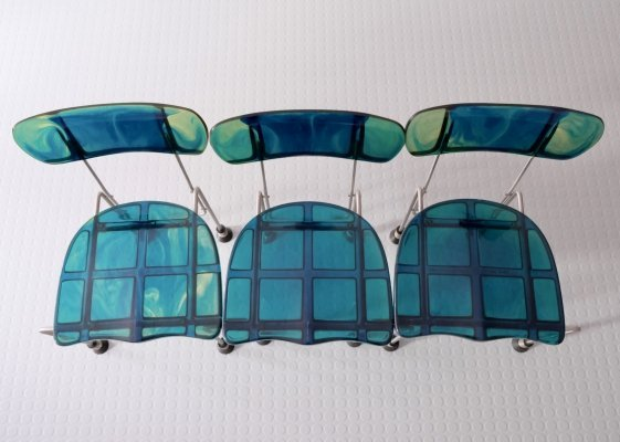 Set of 3 multicoloured cast epoxy resin Broadway Chairs by Gaetano Pesce, 1990s