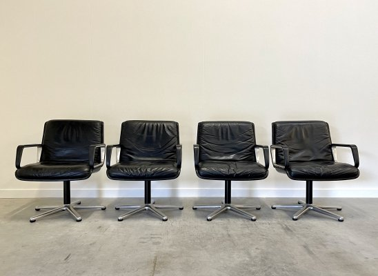 Set of 4 vintage black leather Wilkhahn office chairs, 1960s