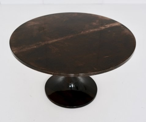 Goat skin covered side table by Aldo Tura, 1950s