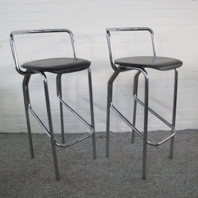 Pair of vintage Italian bar stools with backrest, 1980s