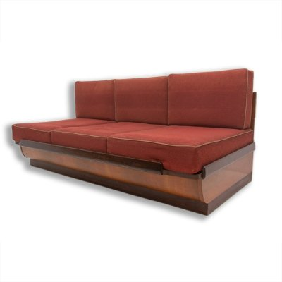 Mid century sofabed in walnut by Jindrich Halabala for UP Zavody, 1950s