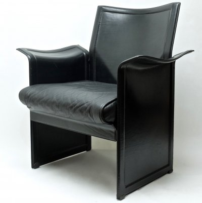 Modern Italian 'Korium' armchair by Tito Agnoli for Matteo Grassi in black leather