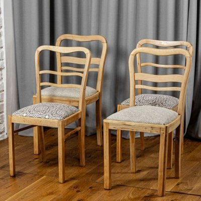 Set of 4 light bent wood dining chairs, 1950s