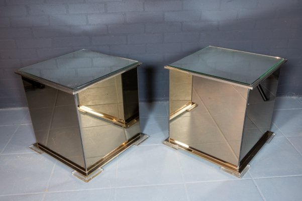 Pair of vintage mirror cube side tables, 1980s