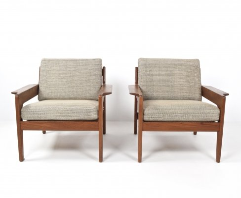 Set of Two Arne Wahl Iversen Lounge Chairs for Komfort, Denmark 1960's