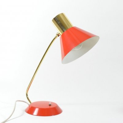 1970s Red metal table lamp