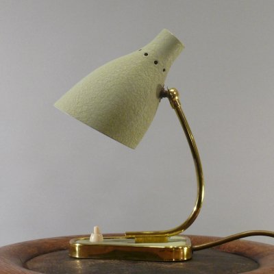 Bedside lamp with shrink varnish in mint green & brass base, 1960s