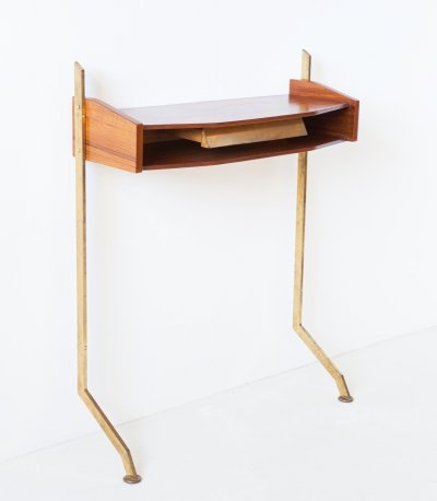 1950s Italian Teak & Brass Console Table with Drawer
