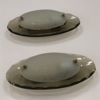 Pair of Oval curved glass sconces by Cristal Art, 1960s