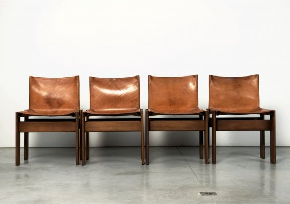 Tobia & Afra Scarpa set of Monk chairs in cognac leather