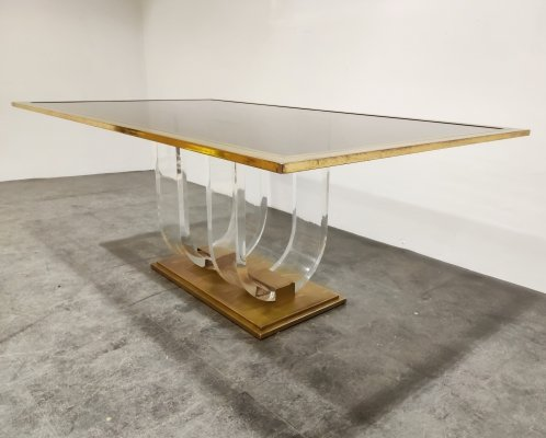 Vintage lucite & brass dining table, 1970s