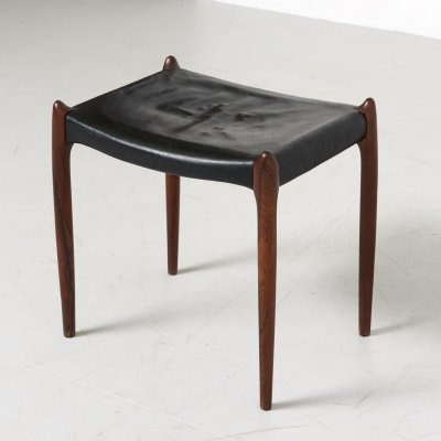 Leather Stool Model 78a by Niels O. Møller for J.L. Møllers Møbelfabrik, Denmark 1950s