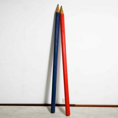 Pair of well made tall wooden pencils, 1980s
