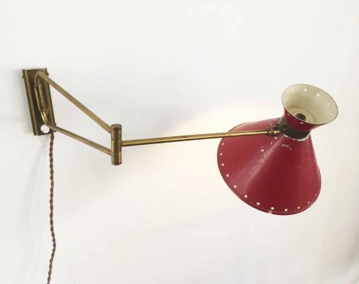 Mid century modern diabolo wall lamp by René Mathieu for Lunel, 1950s