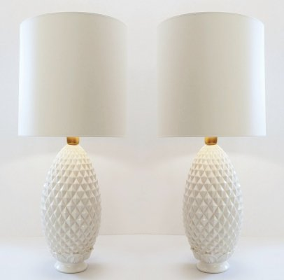 Pair of White Ceramic Pineapple Table Lamps