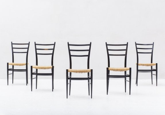 Set of 5 'Spinetto' dining chairs by Chiavari, Italy 1950's