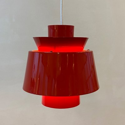 Red Tivoli hanging lamp by Jorn Utzon for Nordisk Solar, 1960s