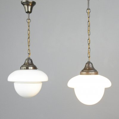 Art Deco Opaline Pendant Lights by ASEA, Circa 1920s