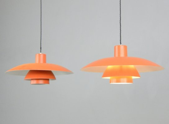 Orange Model PH4 Pendant Lights by Louis Poulsen, Circa 1960s
