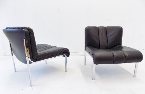 Girsberger Eurochair set of 2 black leather lounge chairs, 1980s