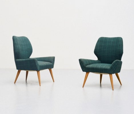 Pair of Isa Bergamo club chairs in original fabric, Italy 1950