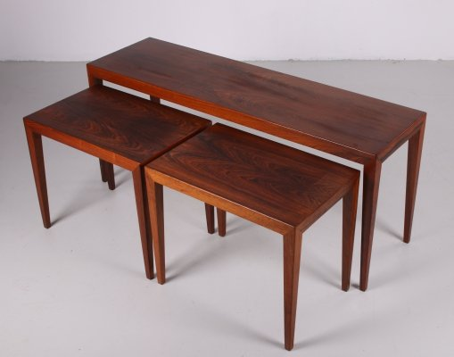 Rosewood set of side tables by Severin Hansen by Haslev Mobel, 1960s