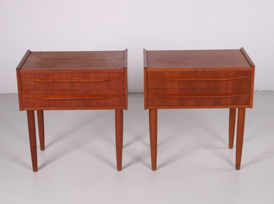 Danish set of bedside tables with two teak drawers