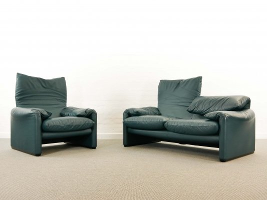 Set Cassina Maralunga 2-Seat Sofa & Easy Chair by Vico Magistretti in Leather