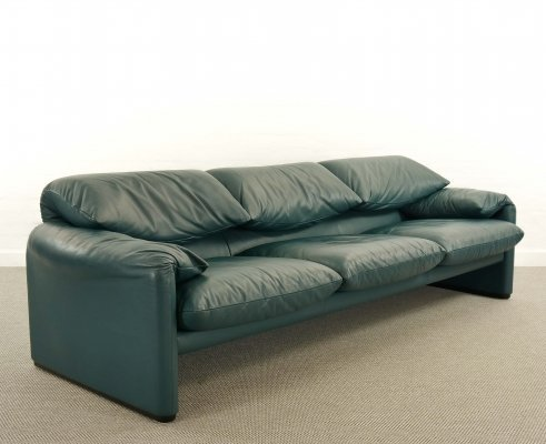 Cassina Maralunga 3-Seat Sofa by Vico Magistretti in Petrol-Darkgreen Leather