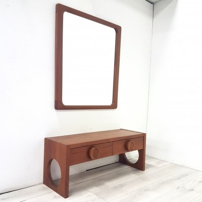 Solid teak vanity table with mirror, Denmark 1960s