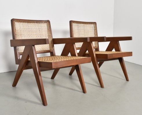 Set of 2 Pierre Jeanneret Lounge Chairs, Chandigarh 1960s