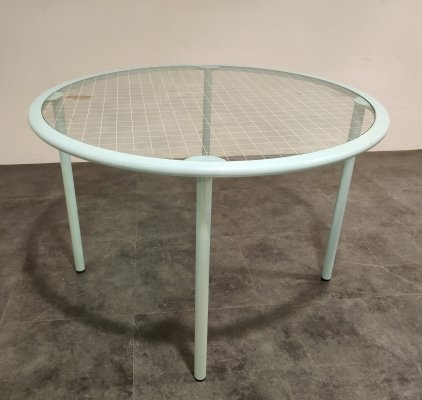 Vintage round glass dining table by Fly line Italy, 1960s