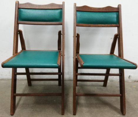 Pair of Shanghai vintage folding chairs, 1950s