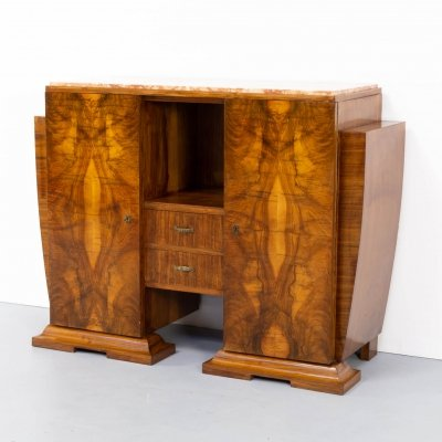 Art deco cabinet in Burl Walnut with marble table top