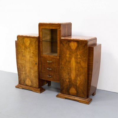 Art deco cabinet in Burl Walnut with glass vitrine & 3 marble tops