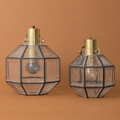 Set of two pendants by Glashütte Limburg in cast, painted glass & brass