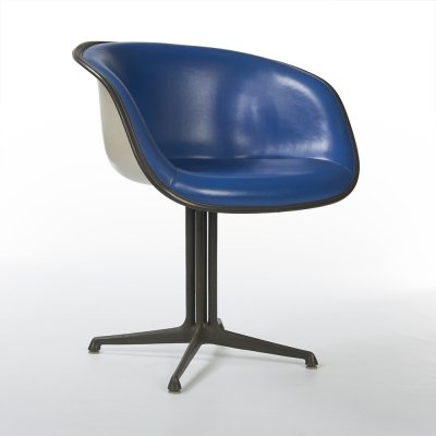 Blue Upholstered Herman Miller Original Vintage Eames La Fonda Dining Chair