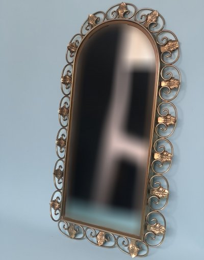 Vintage Handcrafted Brass Mirror, 1960s