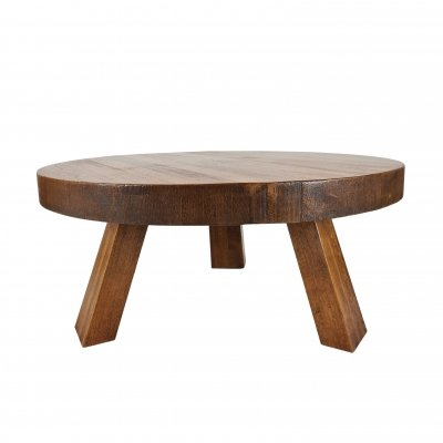 Rustic robust solid oak round tripod coffee table, 1970s